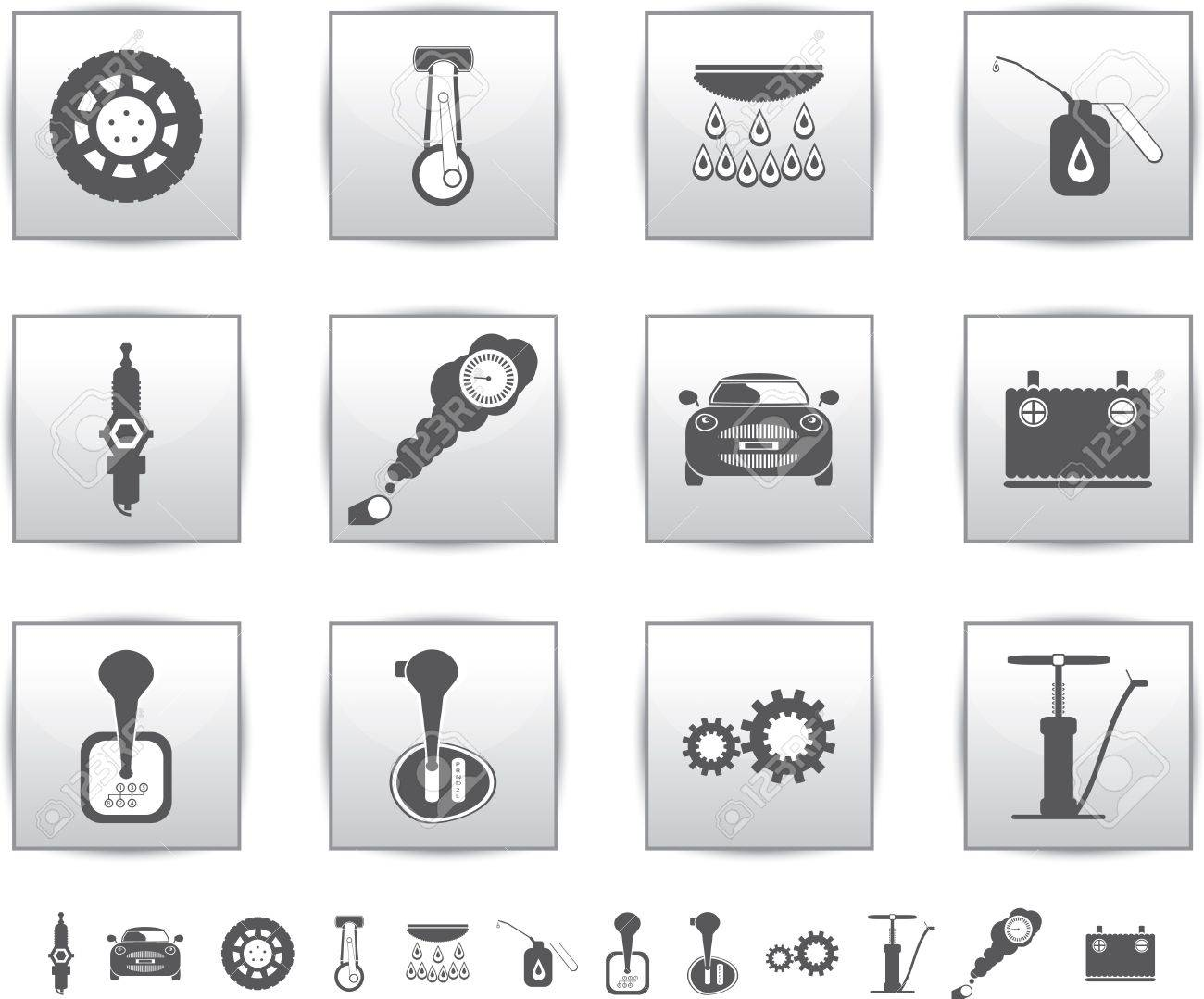 Vector car set icons  auto service square Stock Vector - 15260948