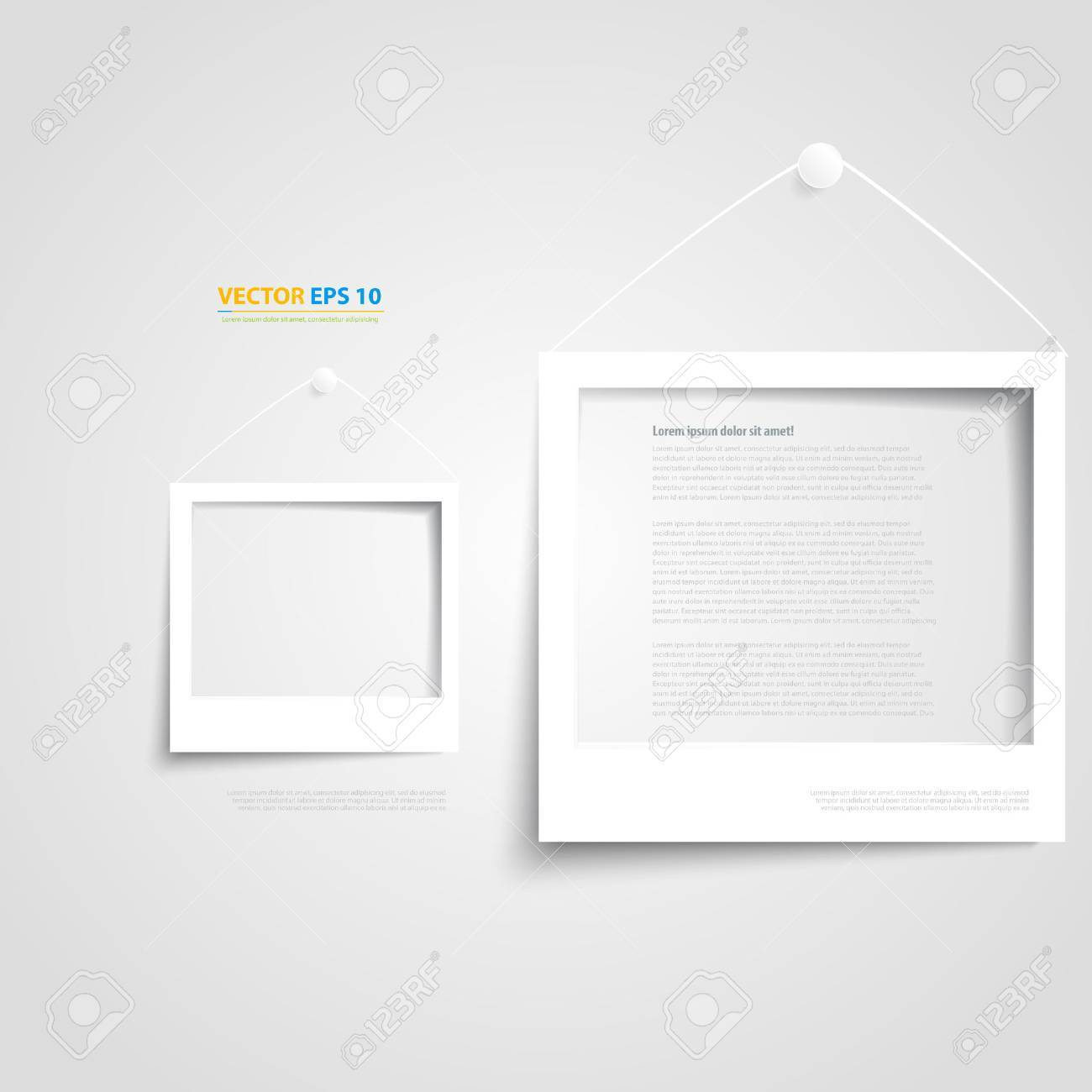 Vector White Frame On The Wall. Set Of Photo Frames Royalty Free ...
