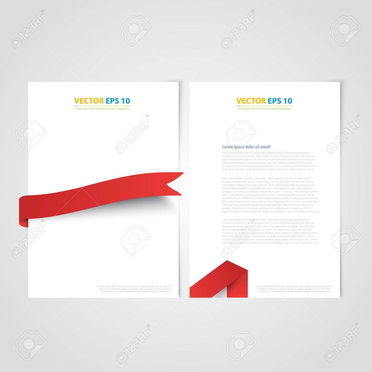 Flyer template back and front design brochure design templates flyer template back and front design brochure design templates collection with red ribbon stock vector ccuart Gallery
