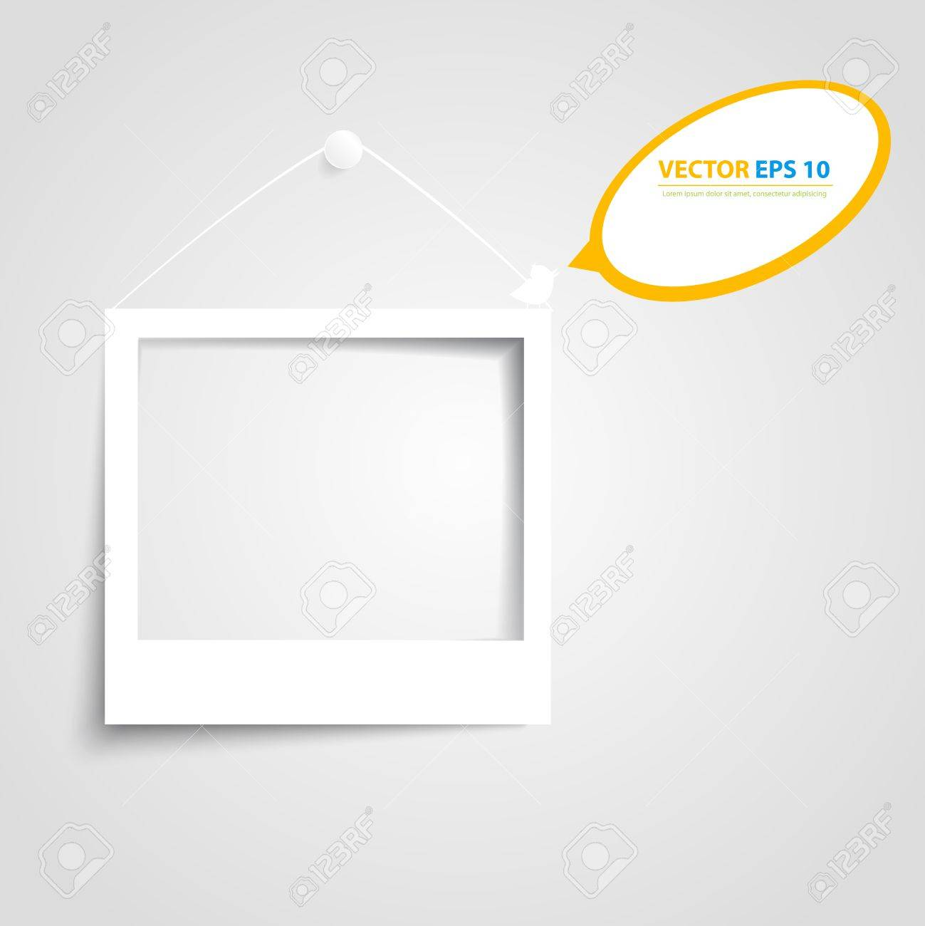 Vector White Frames On The White Wall. Picture Frame And Shadow ...