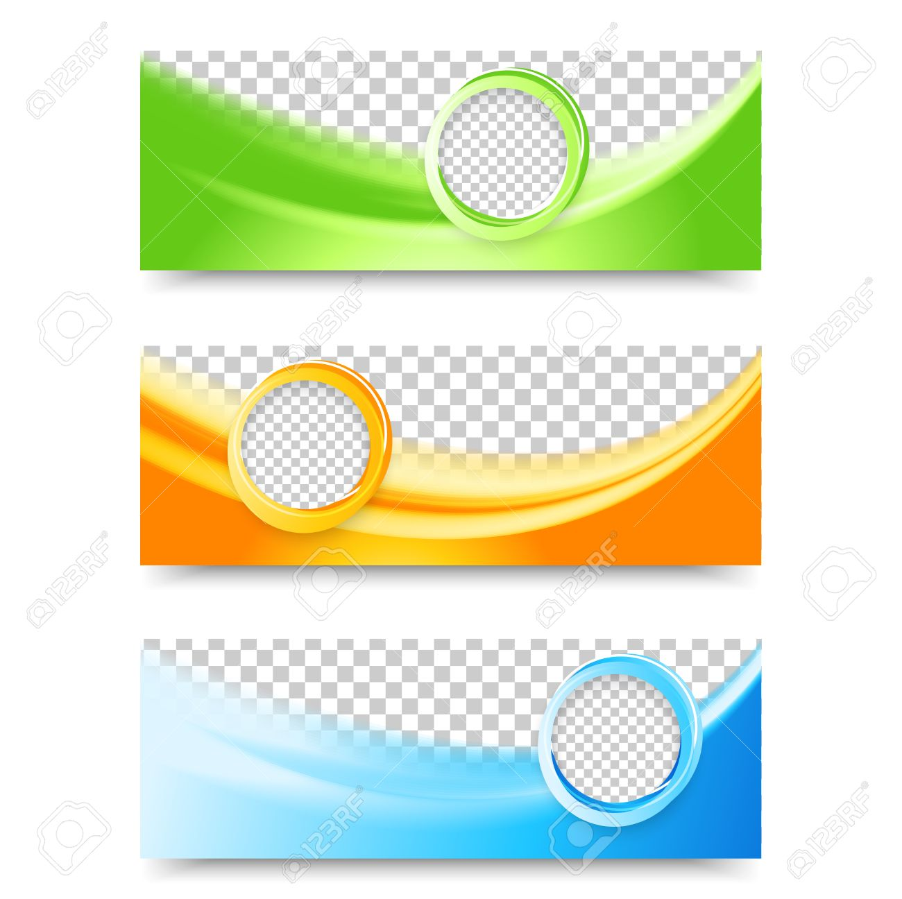 Flyer template header design. Banner design templates collection with bubbles - 35599783