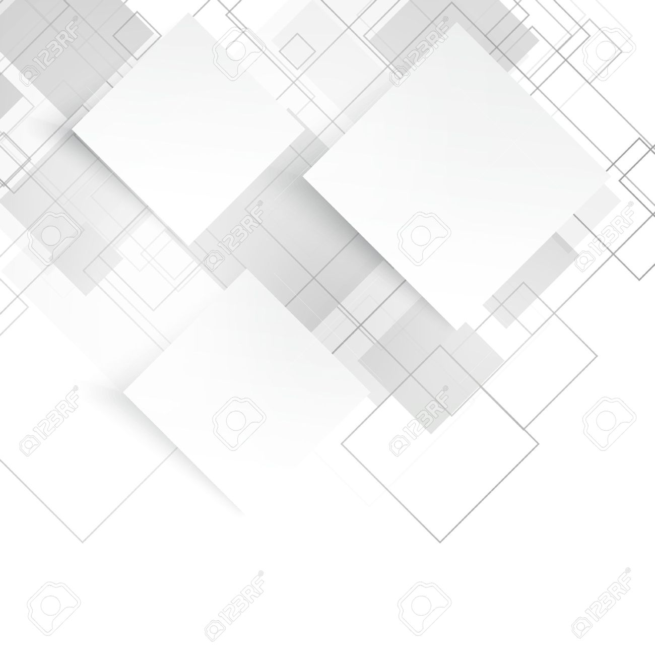 Vector white squares. Abstract background. Gray blank - 45017813