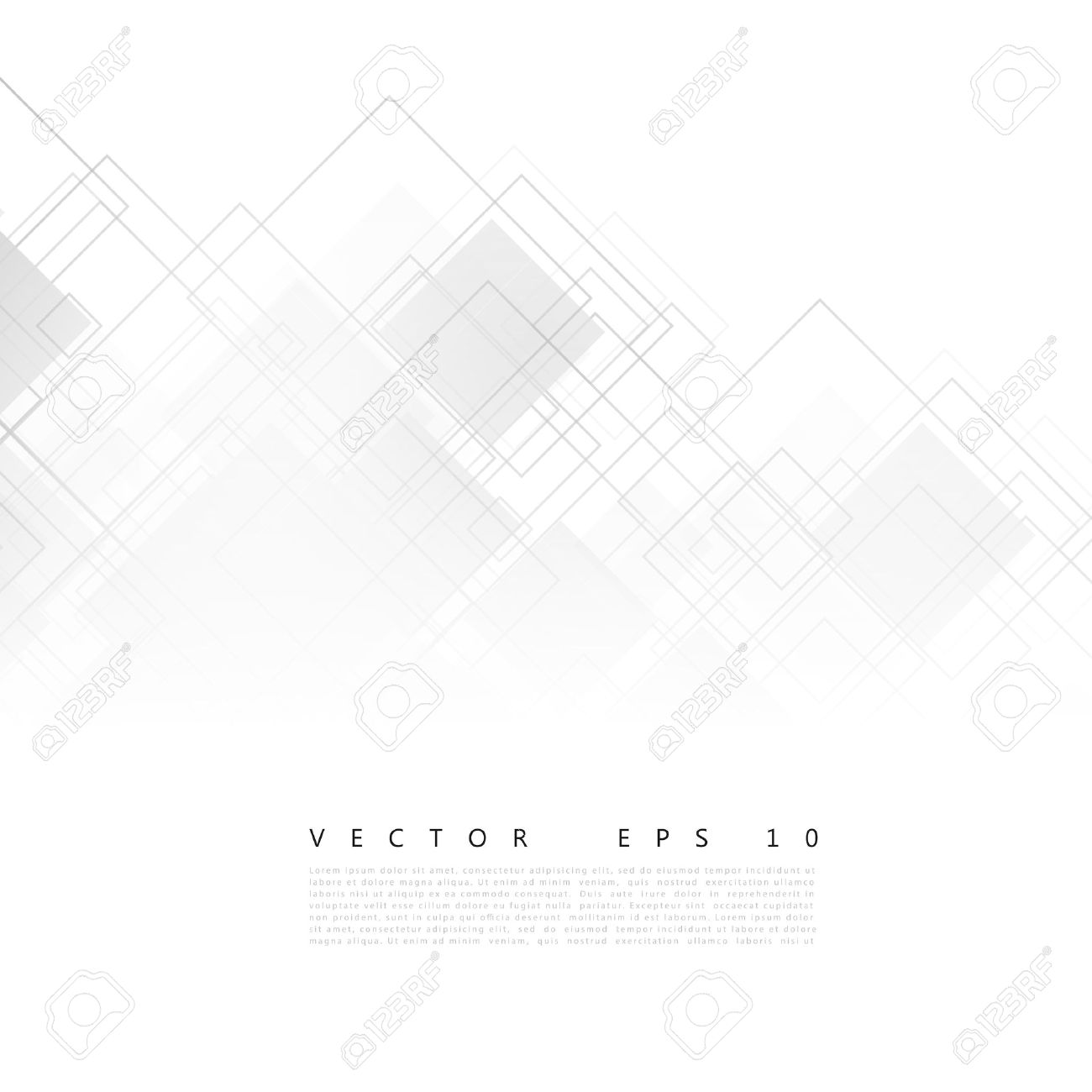 Vector white squares. Abstract background. Gray blank - 45204469