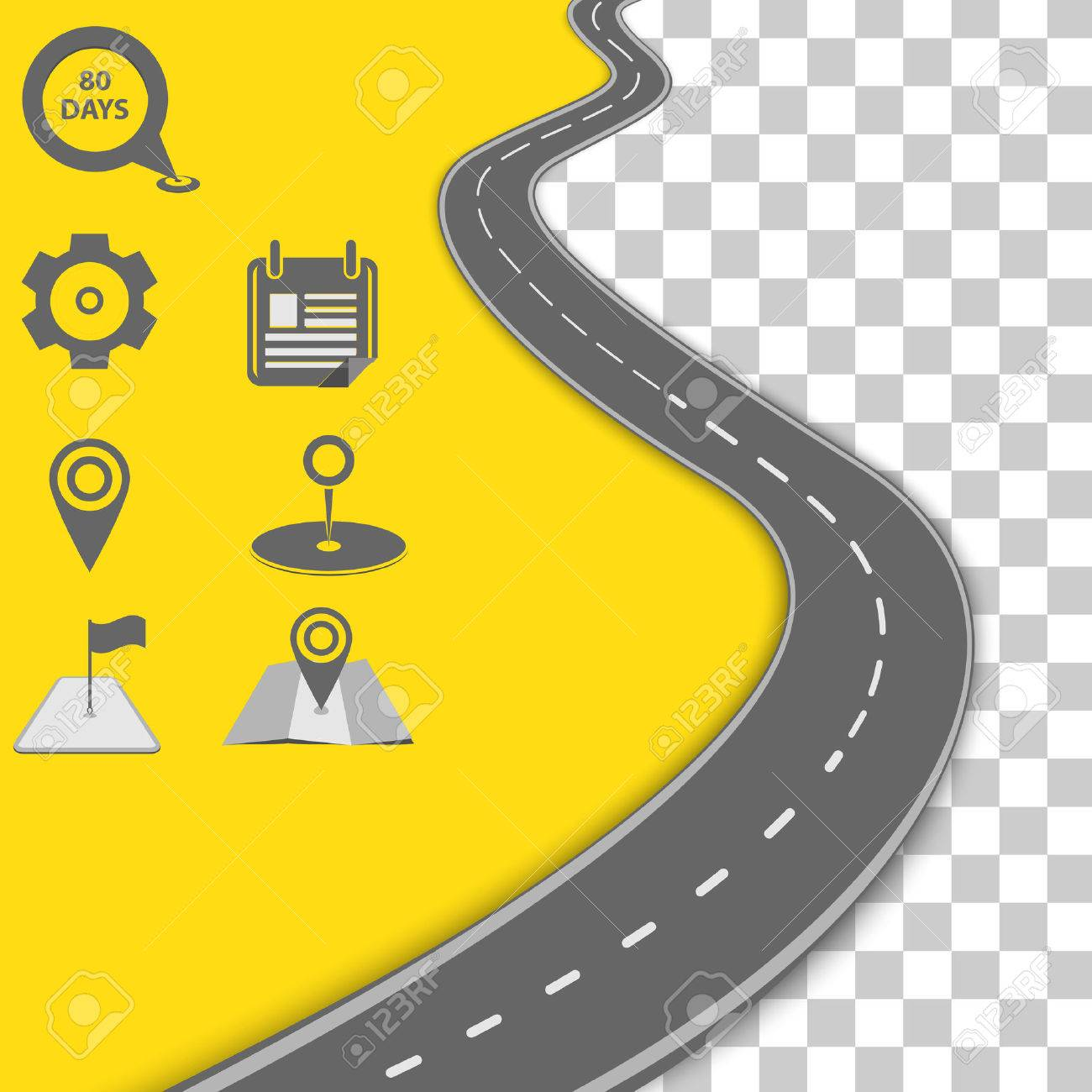 Vector path on the road. Background infographic - 46591532