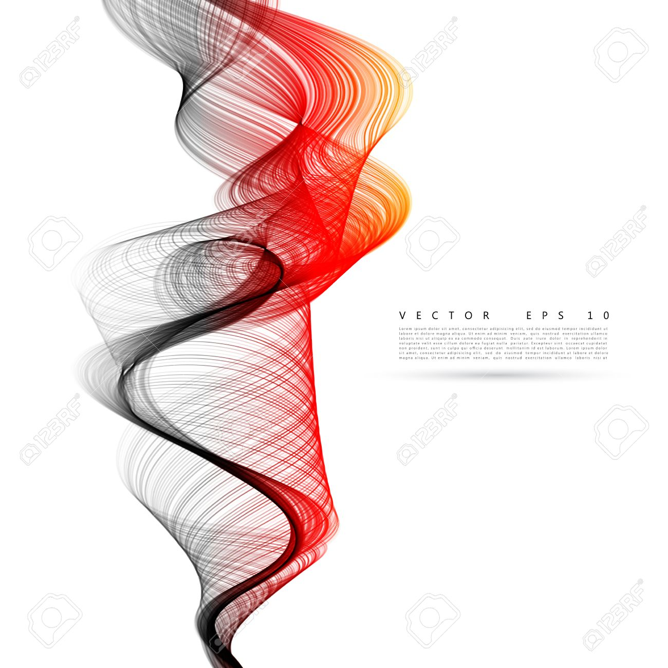 Vector abstract smoke background. Fire smoke waves on transparent background illustration - 46954756