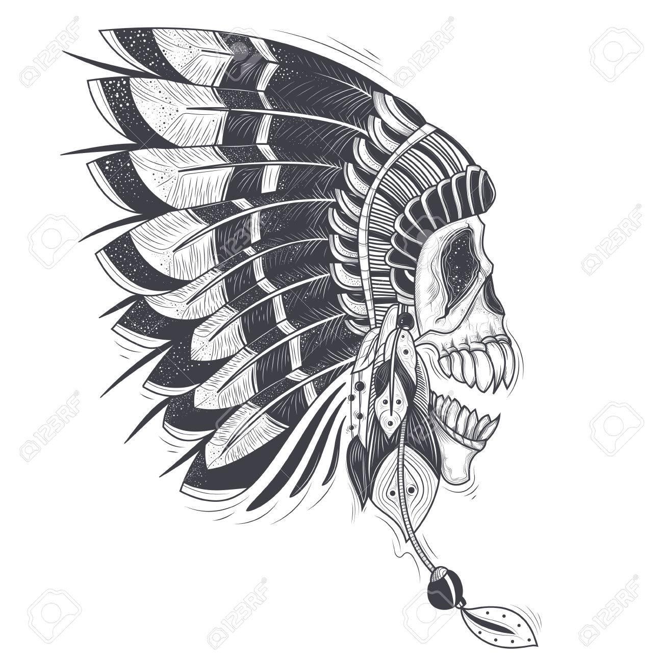 Ilustración Vectorial De Una Plantilla Para Un Tatuaje Con Un Cráneo ...