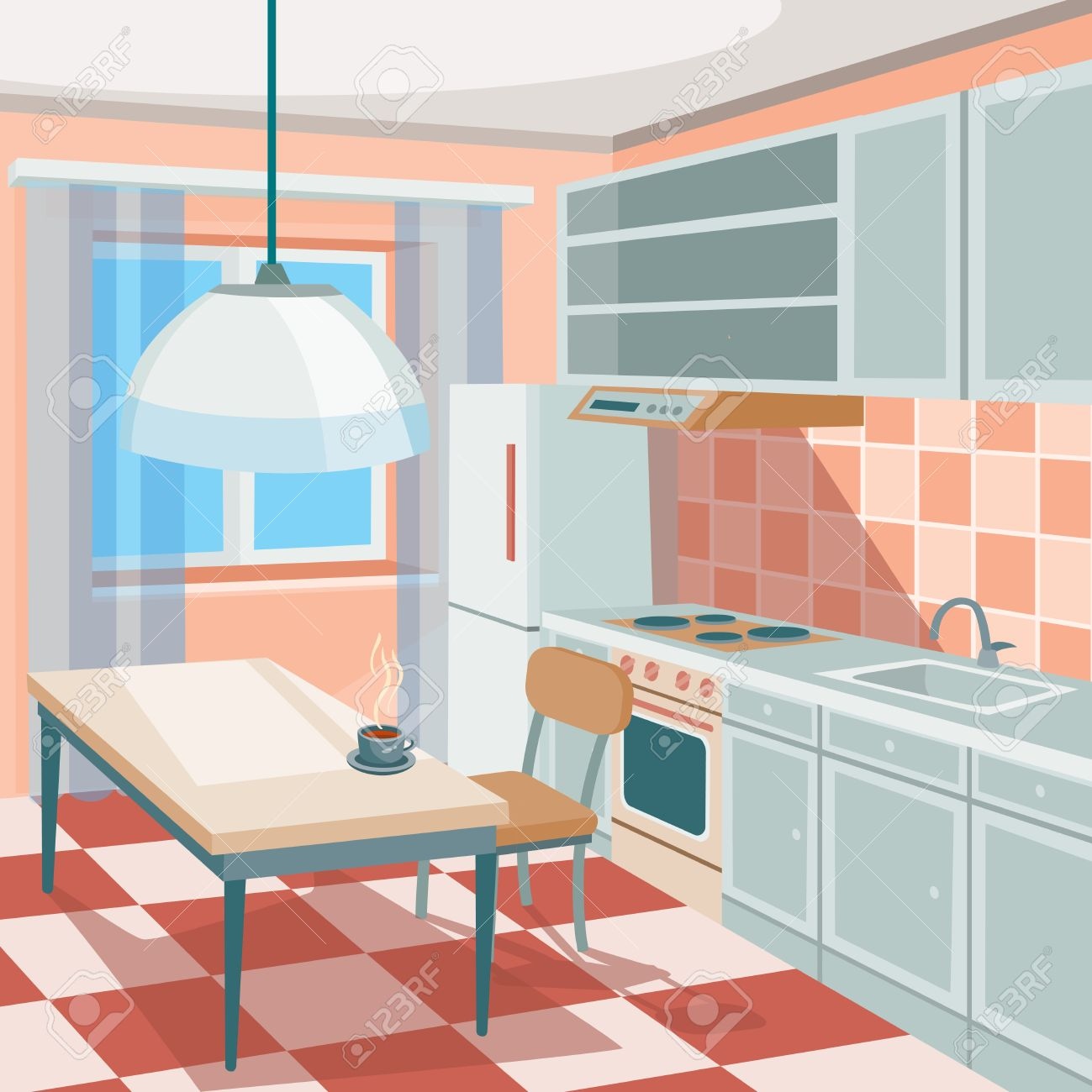 Vector Cartoon Illustration Of A Kitchen Interior With Kitchen ...