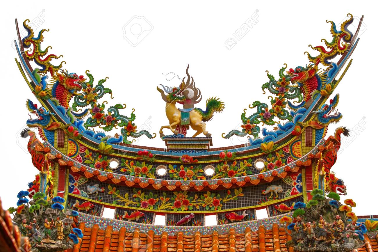 isolate roof decoration of chinese temple stock photo picture and