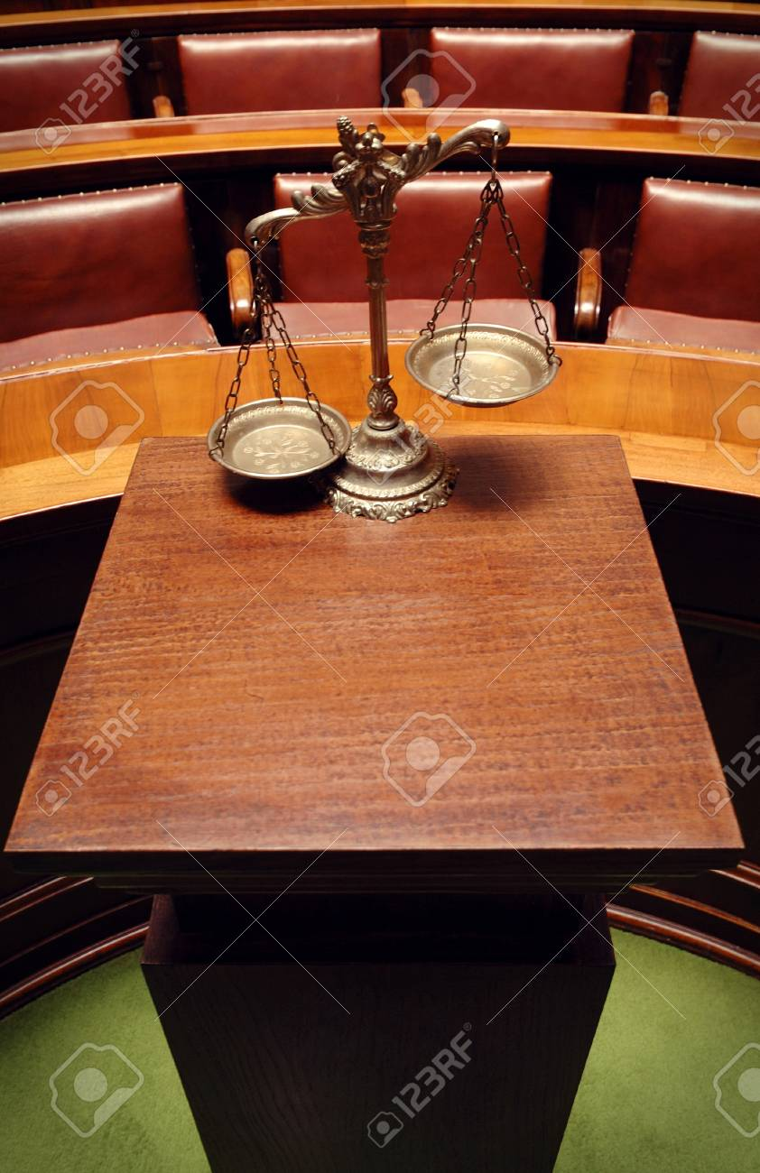 Symbol of law and justice in the empty courtroom, law and justice concept Stock Photo - 16995401