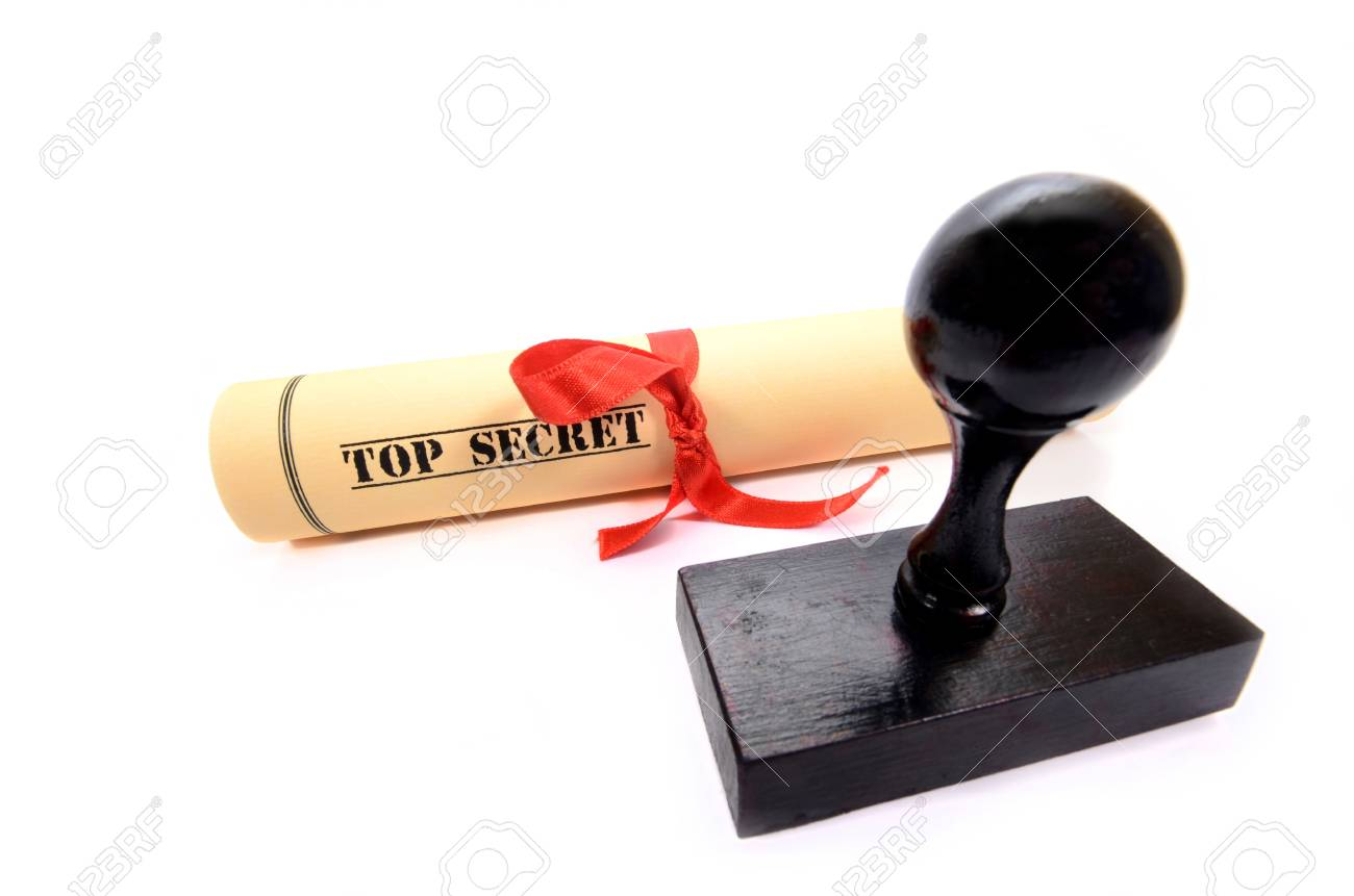 Classified, restricted, top secret document and rubber stamp on the white background Stock Photo - 18983250