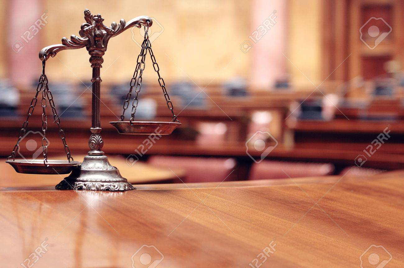 Symbol of law and justice in the empty courtroom, law and justice concept Standard-Bild - 20144915
