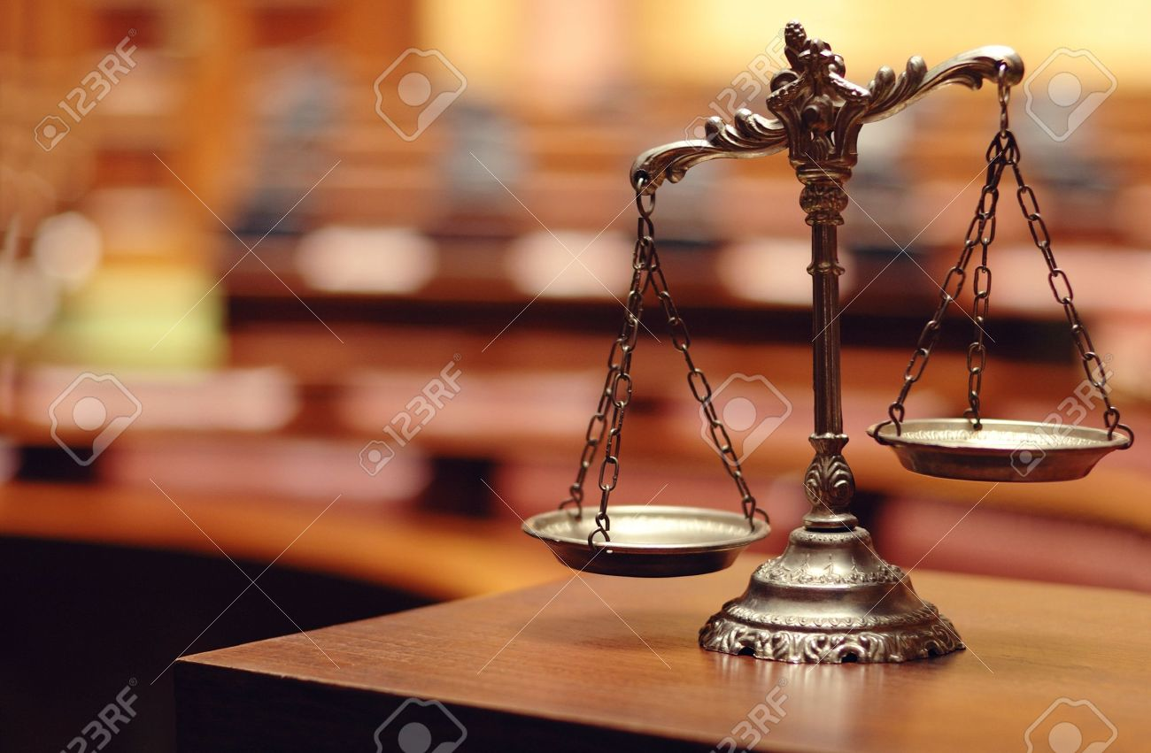 Symbol of law and justice in the empty courtroom, law and justice concept. - 20144931