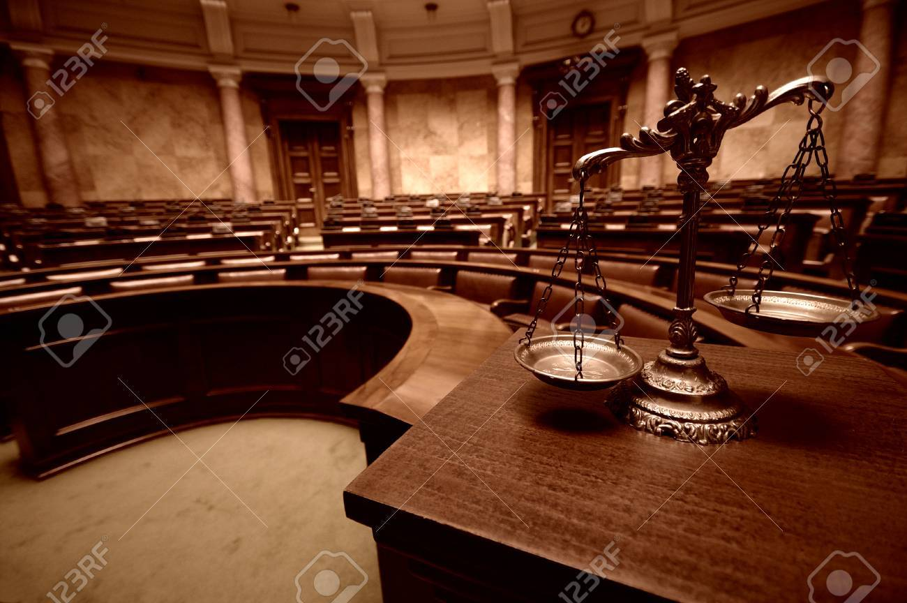 Symbol of law and justice in the empty courtroom, law and justice concept. - 88595896