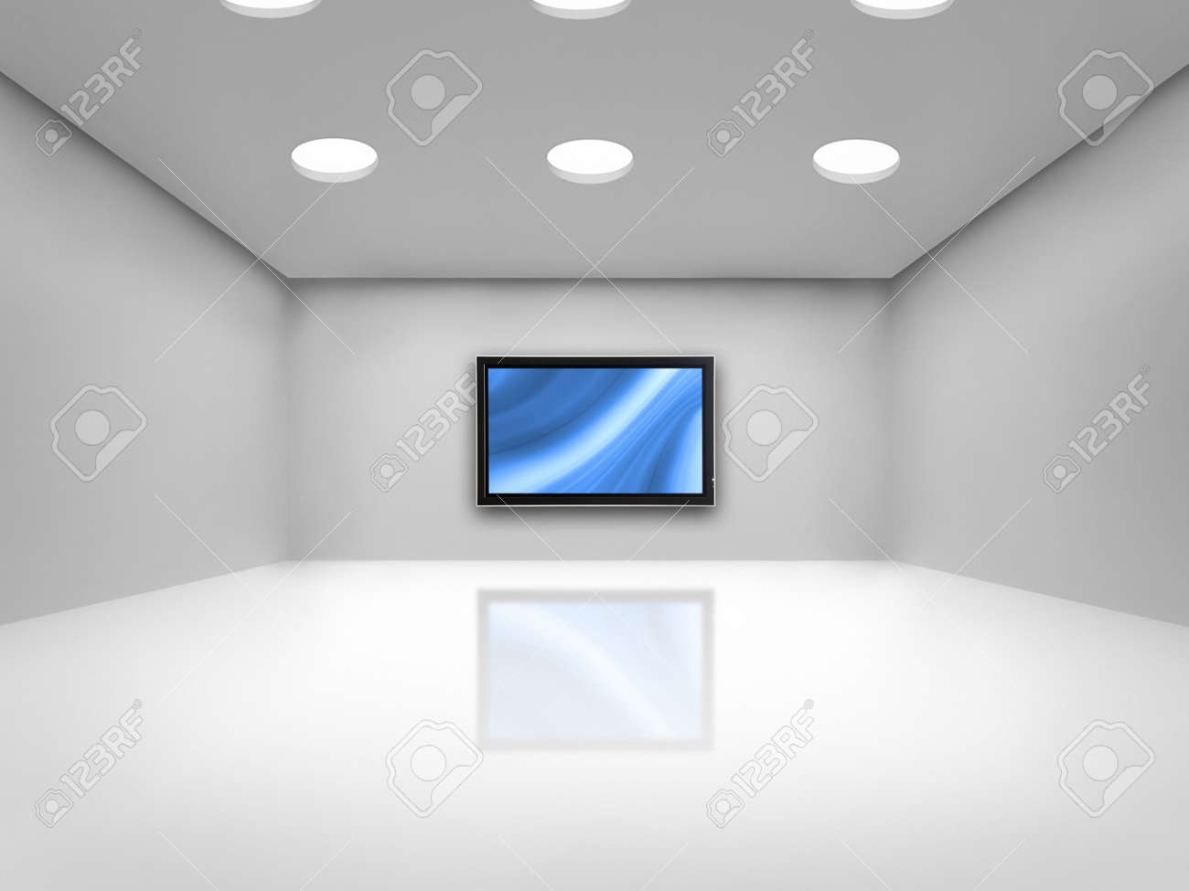 Open space with a plasma tv on the wall reflected on the floor Stock Photo - 2155644