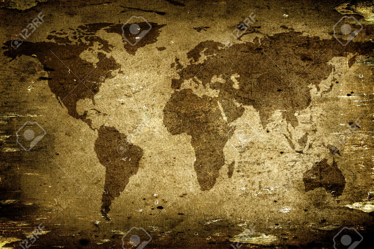 Background made with old textured paper with a world map Stock Photo - 2155717