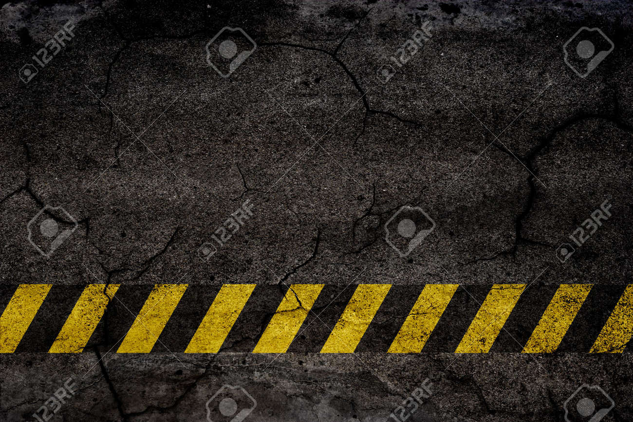 Asphalt background texture with construction signs Stock Photo - 4888271