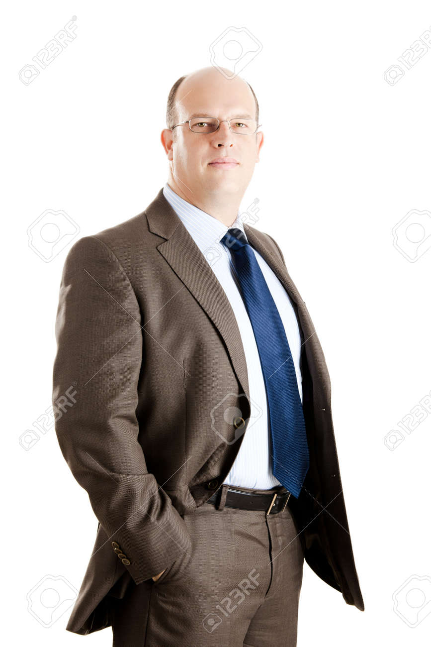 Middle-aged businessman portrait isolated on white background Stock Photo - 6393296