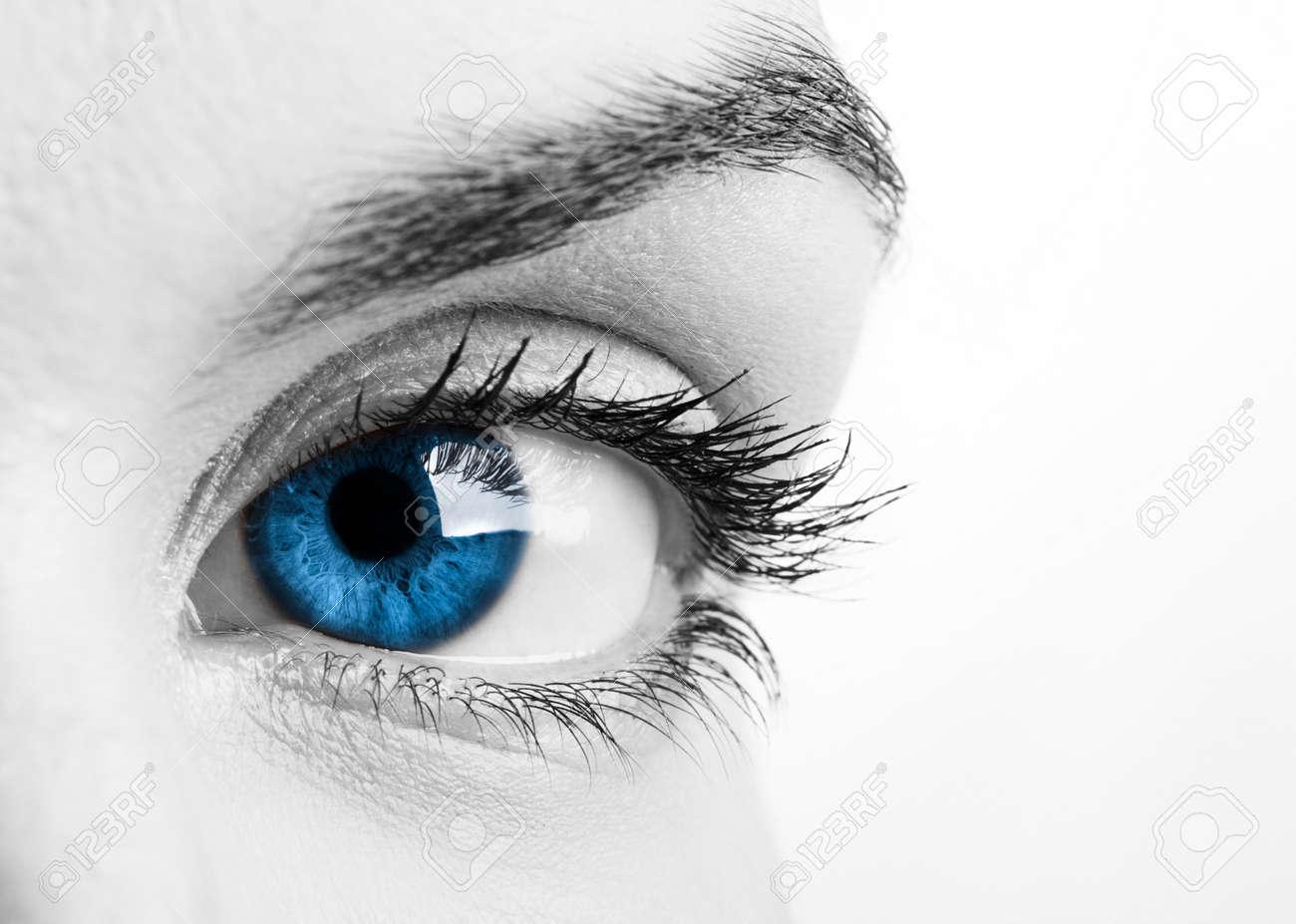 Close-up portrait of a beautiful female blue eye Stock Photo - 6631541