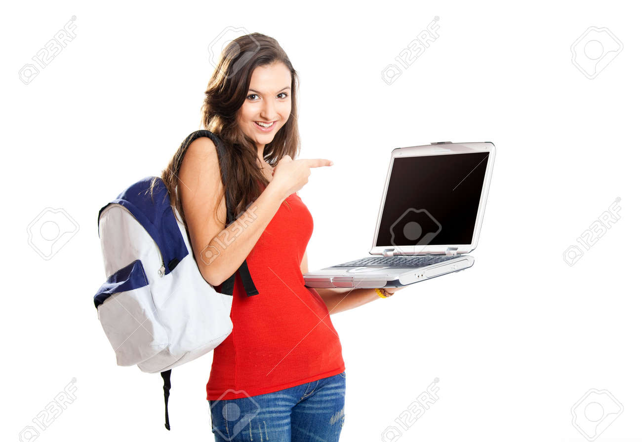 Beautiful young female student showing something on a laptop, isolated on white - 7750710