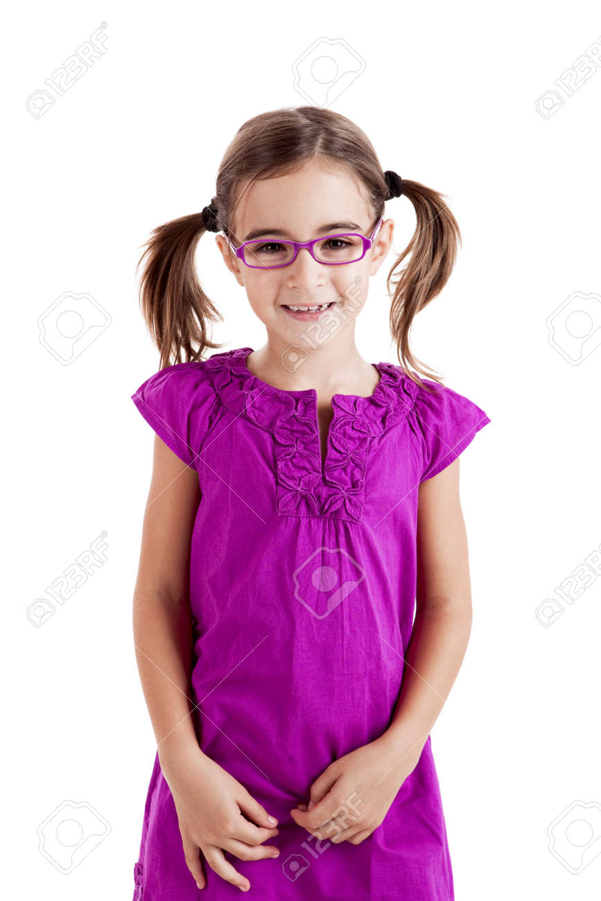 Beautiful girl wearing glasses isolated on white Stock Photo - 8212328