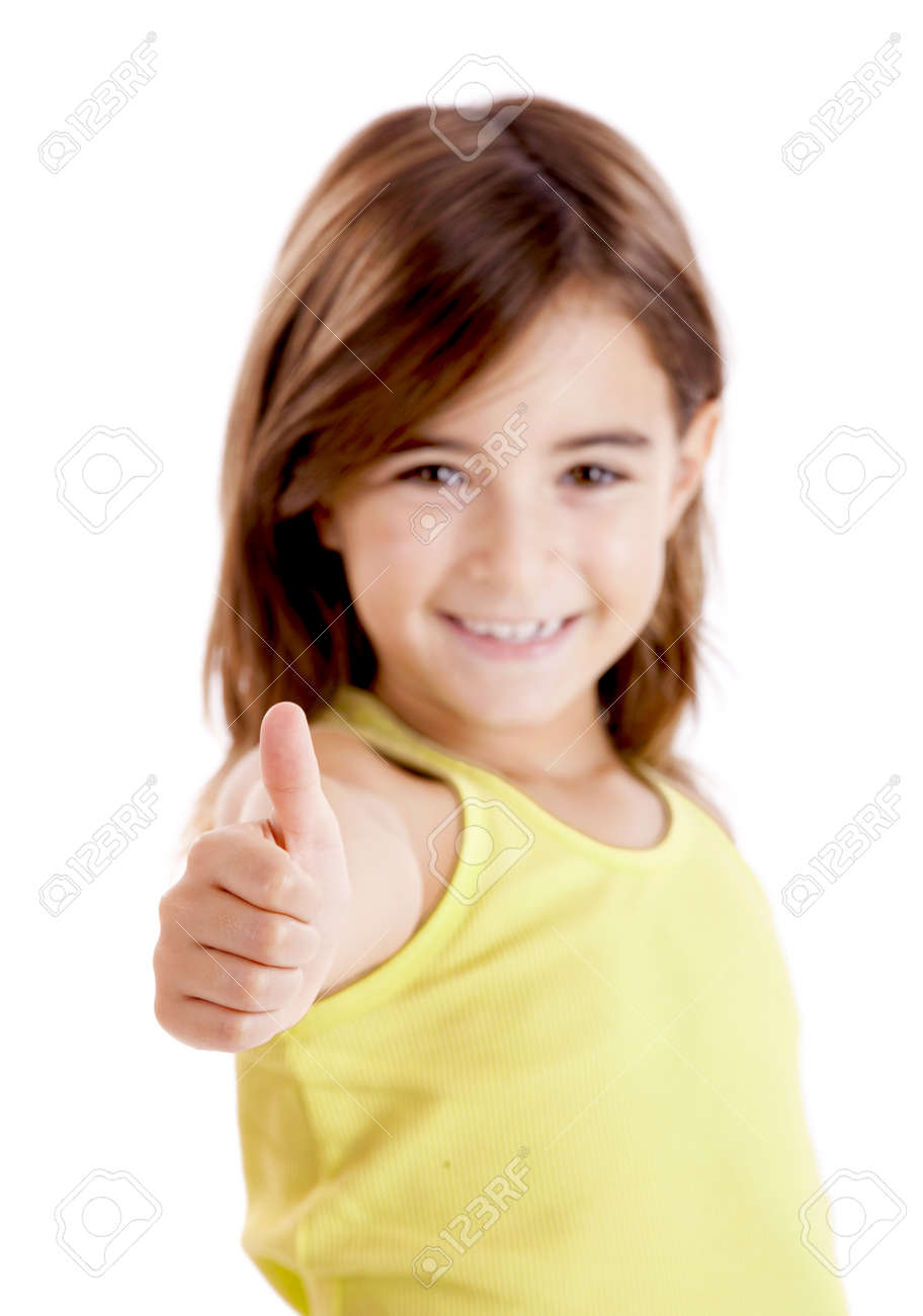 Portrait of a beautiful and confident girl showing thumbs up isolated one white Stock Photo - 8307792