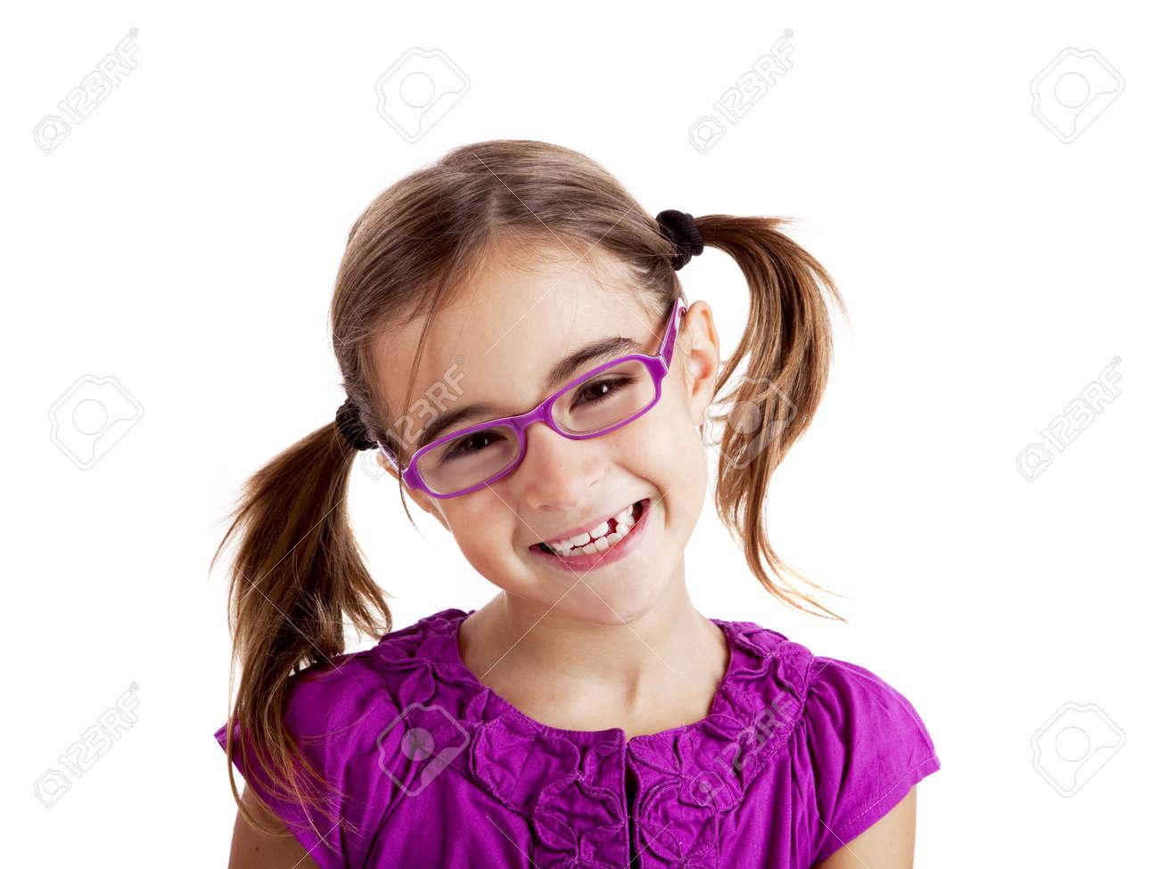 6a72575ca69047 Mooi meisje bril geïsoleerd op wit Stockfoto - 8307829