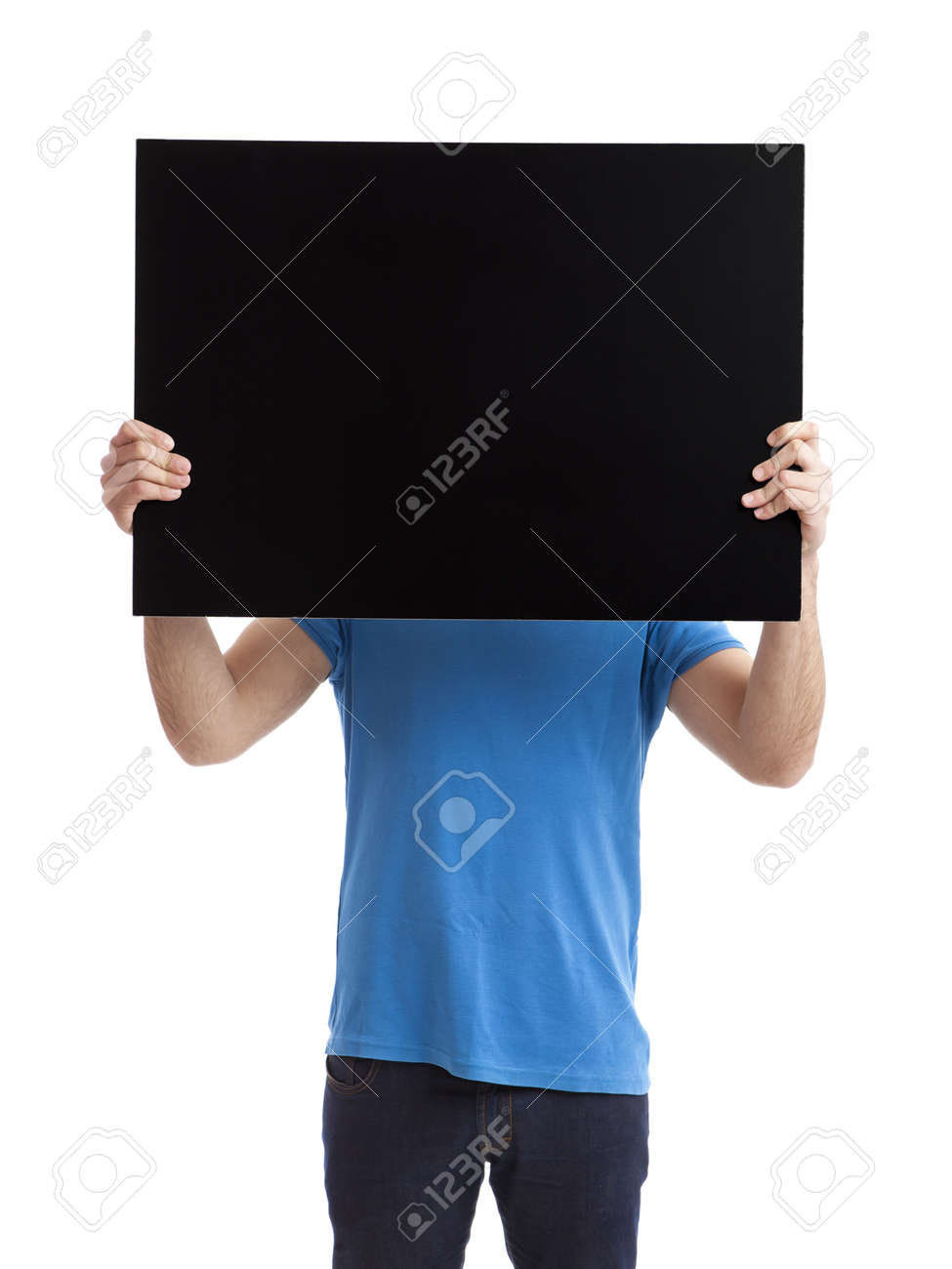 Portrait of a young man showing an empty black billboard on white background Stock Photo - 9469006