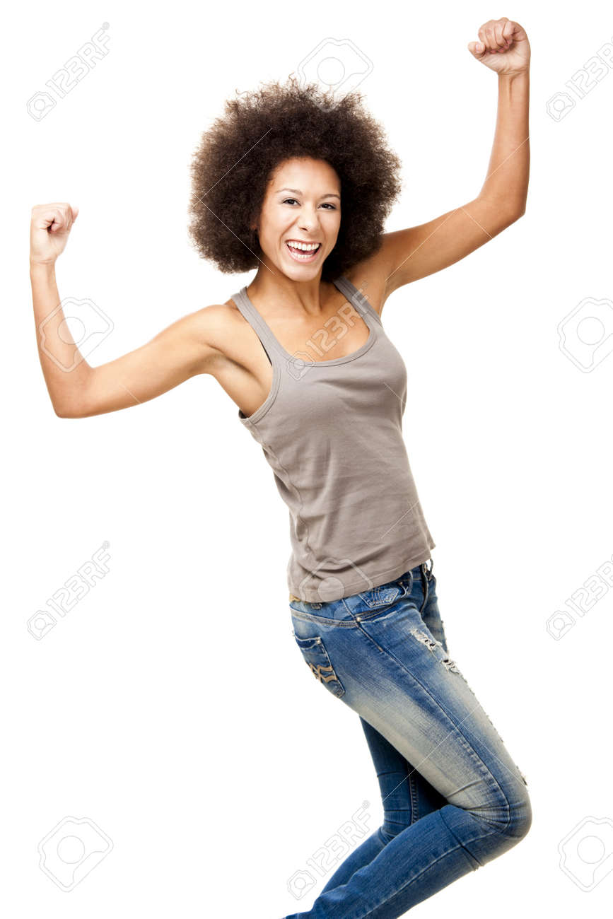 Happy Afro-American young woman isolated on white with arms on the air Stock Photo - 12165425