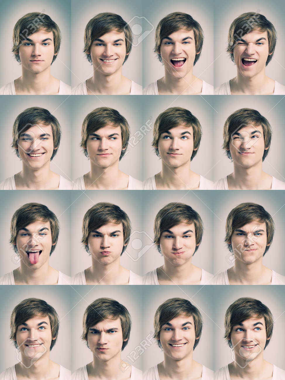 Grimace face clip art stock photo woman pulls a face in upset - Angry Suspicious Multiple Portraits Of A Young Man Doing Grimaces Stock Photo