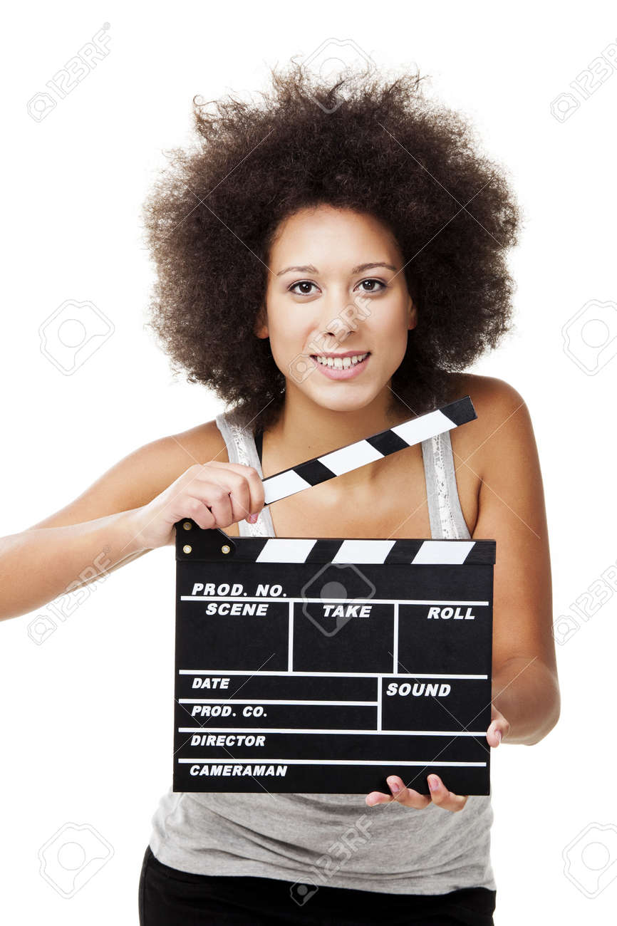 Beautiful african american woman holding a clapboard, isolated on white Stock Photo - 13359294