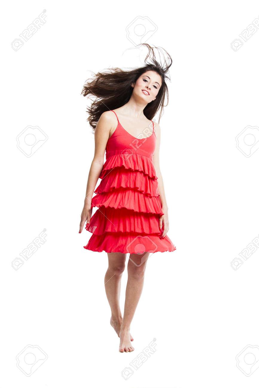 b860d507cf0912 Mooie Vrouw Met Een Rode Jurk Dansen En Springen