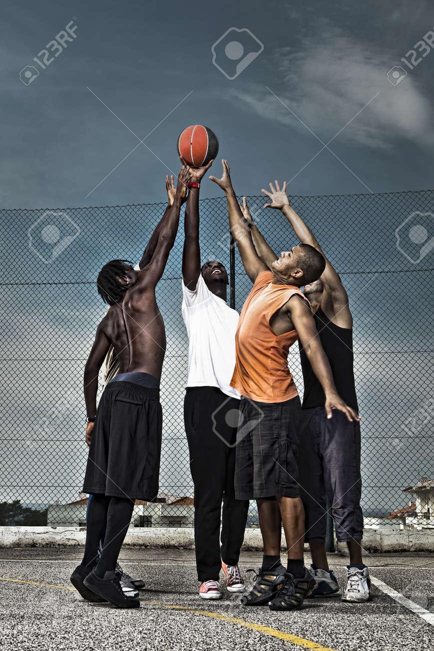 Group portrait of a street basketball team Stock Photo - 18294062