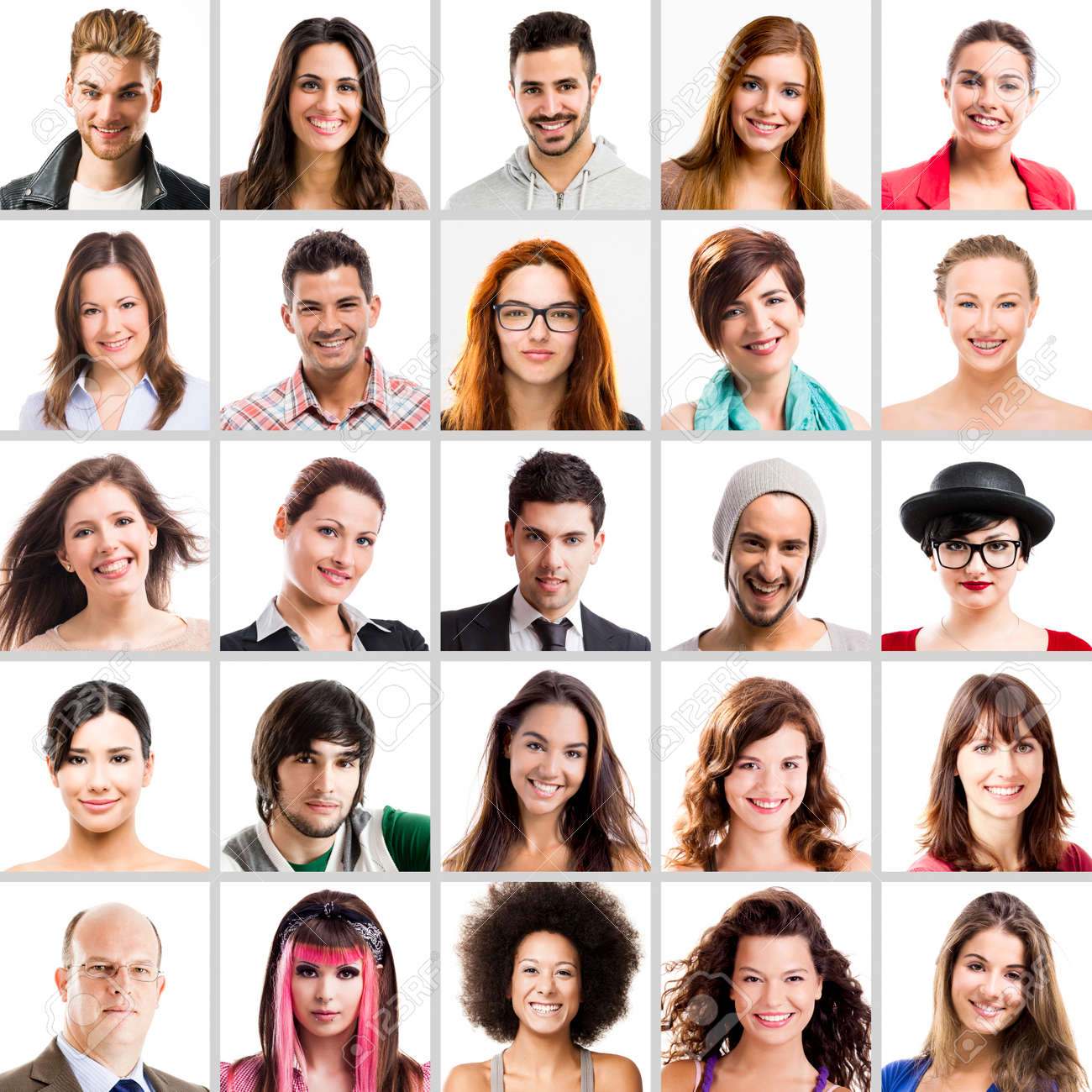 collage of multiple portraits of different people stock photo