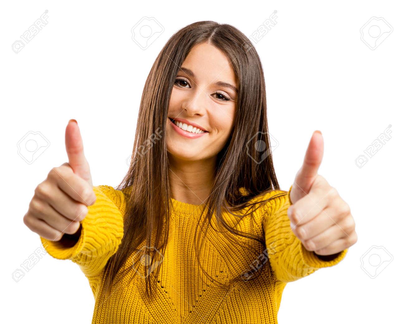 54859cbebb Schöne und glückliche Frau mit Daumen hoch, isoliert auf weißem Hintergrund  Standard-Bild -
