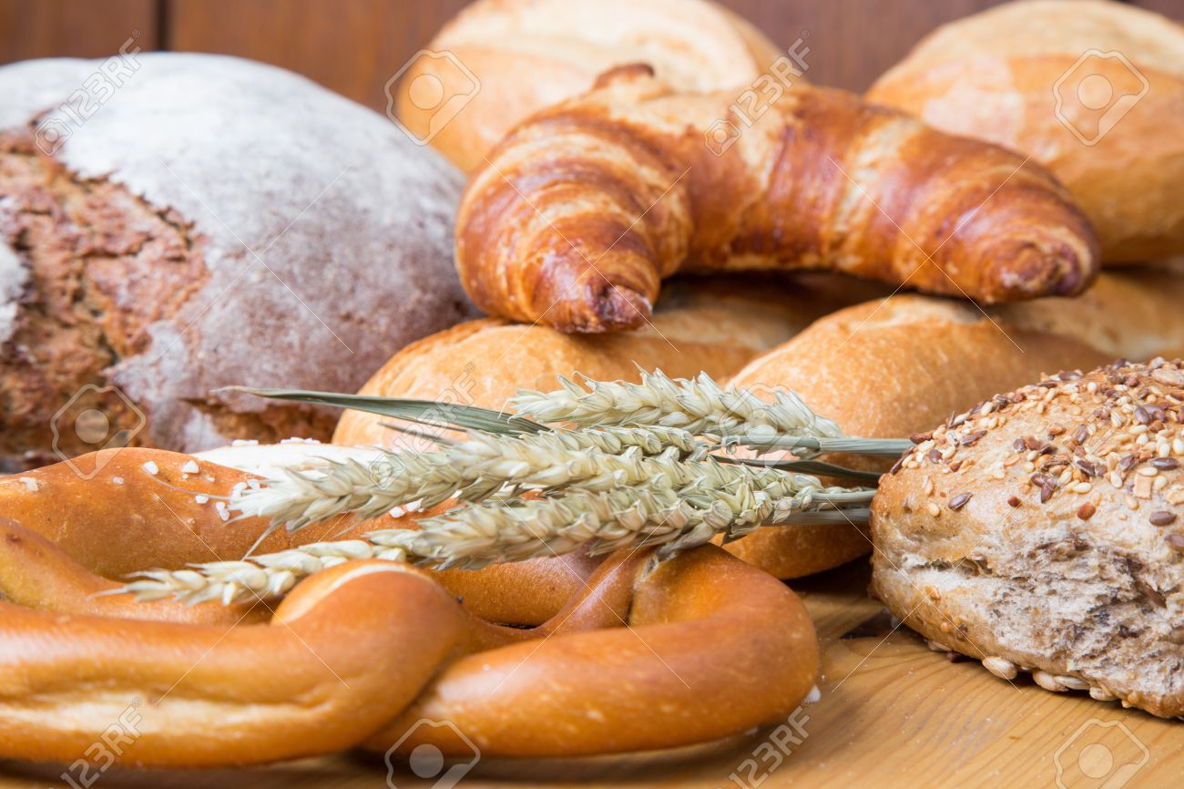 Different Types Of Bakery Products Such A Loarf Bread Pretzel Whole Grain