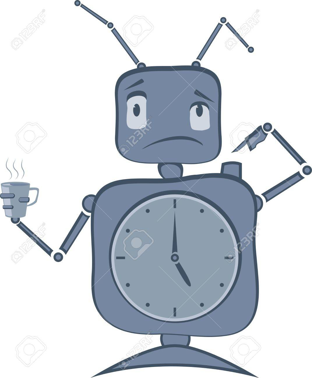 Robot with Clocks and Antenas Stock Vector - 14828090