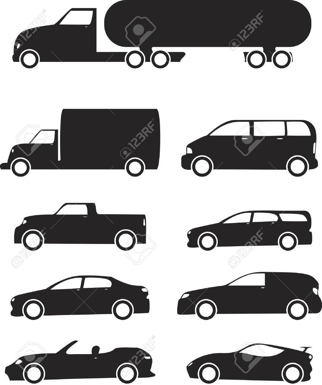 Isolated black Vehicles icons set on white background - 14891506