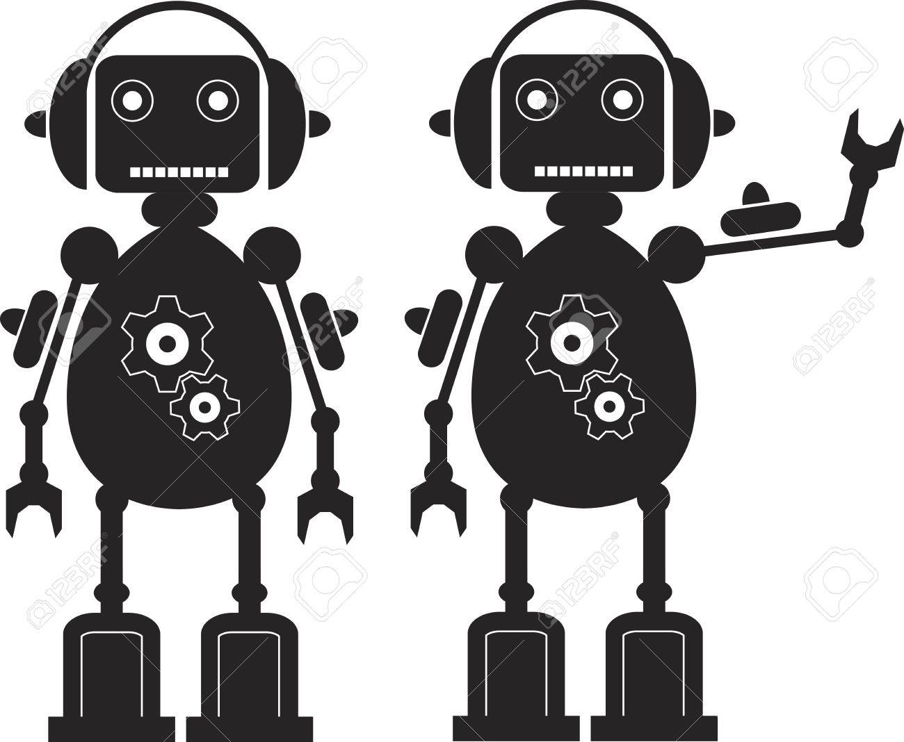 Two Black Friendly Robots with Gears, Headphones. - 15313294