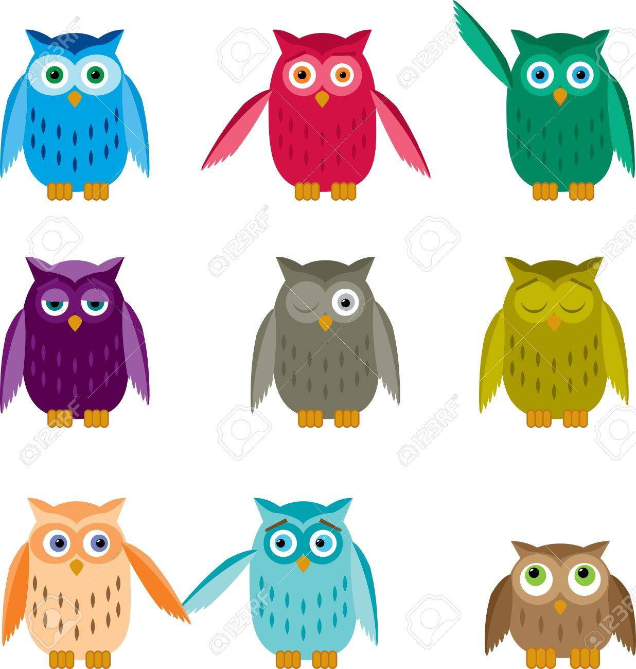 Set of colorful owls with different emotions. Stock Vector - 15592352