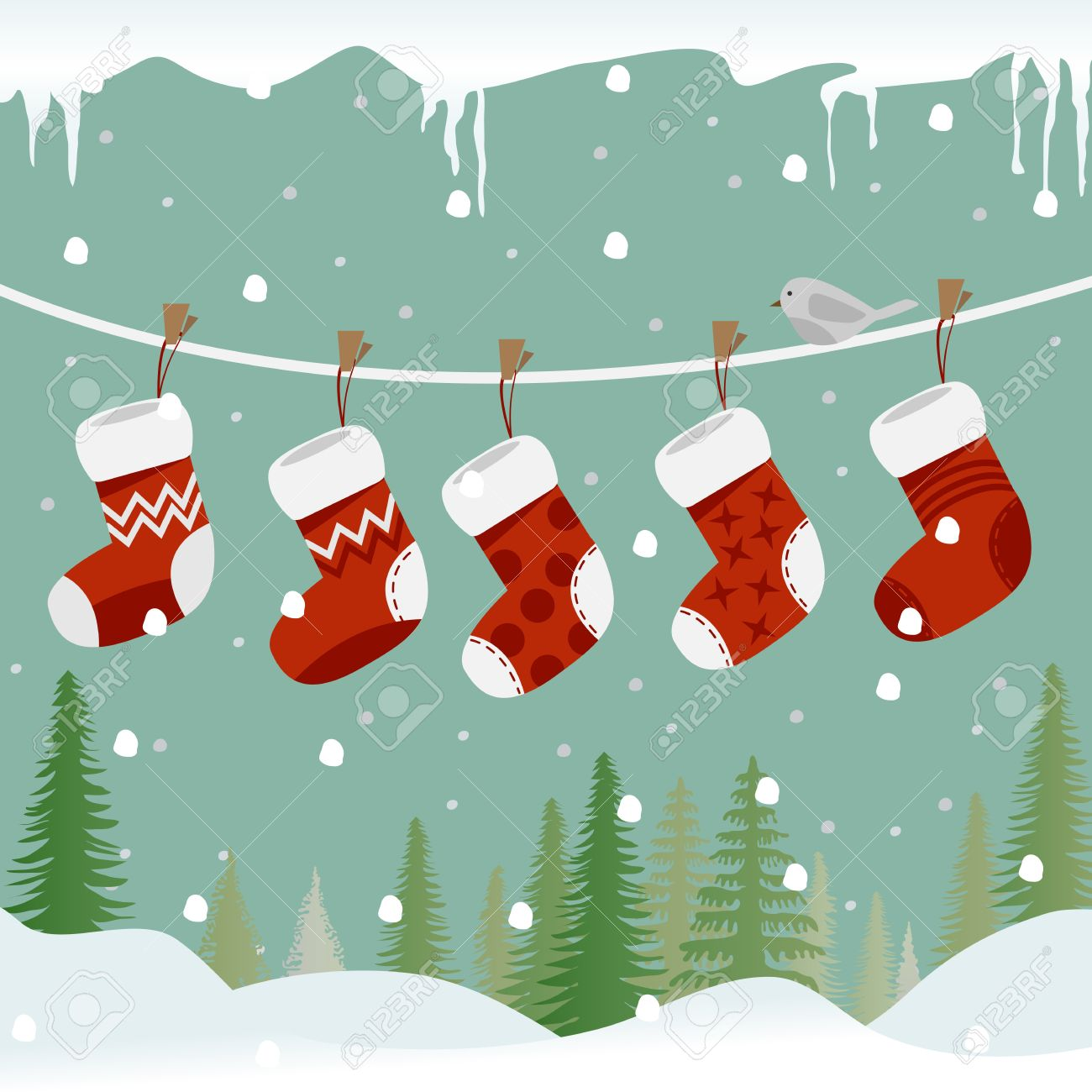 Five Red Christmas Socks On The Rope With Little Bird Royalty Free ...