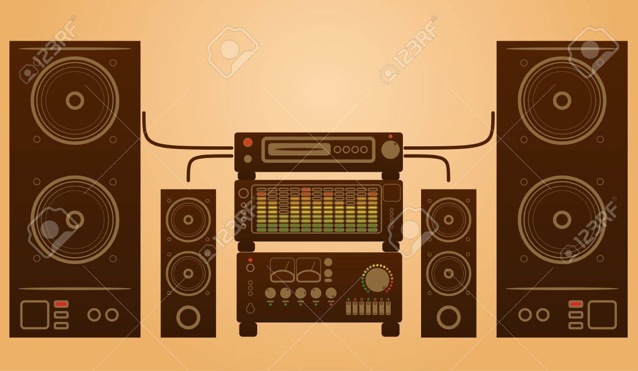 Retro stylish audio system with speakers and equalizer. - 16915221