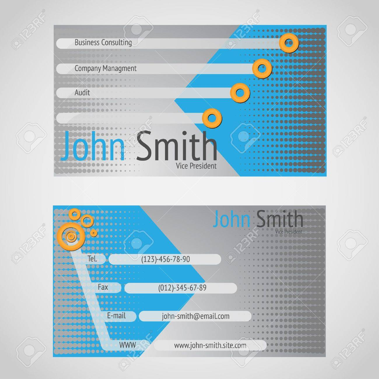 Standart 90 X 50 Mm Business Card With Cyen And Gray Colors ...