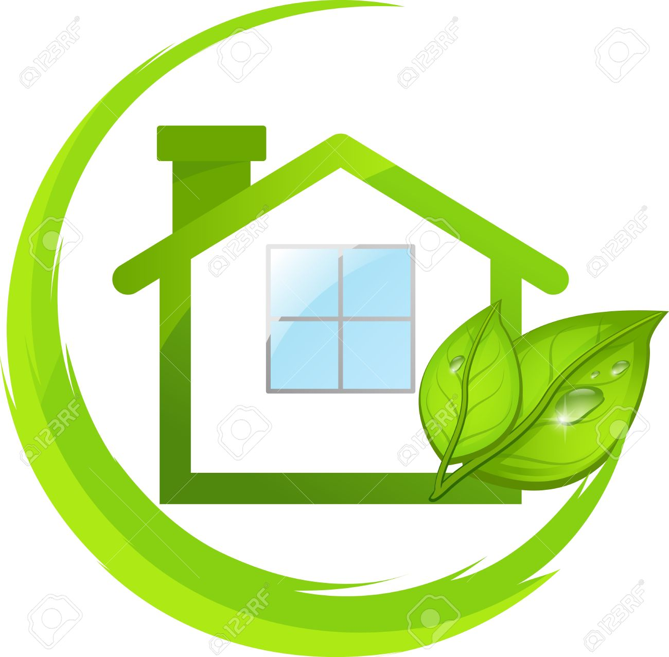 Logo of simple green eco house with leafs - 18865388