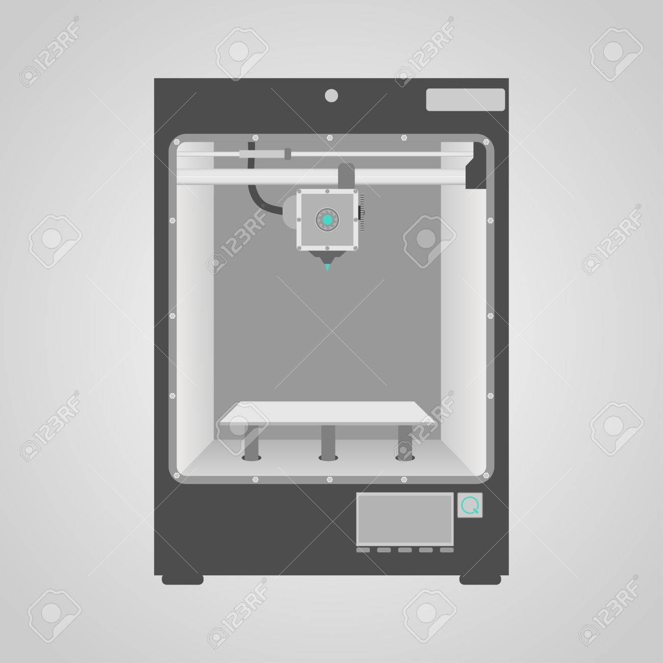 Prototype model of 3d printer in gray and white colors Easy to place inside printer any of your product to demonstrate new 3d printing technology - 26075913
