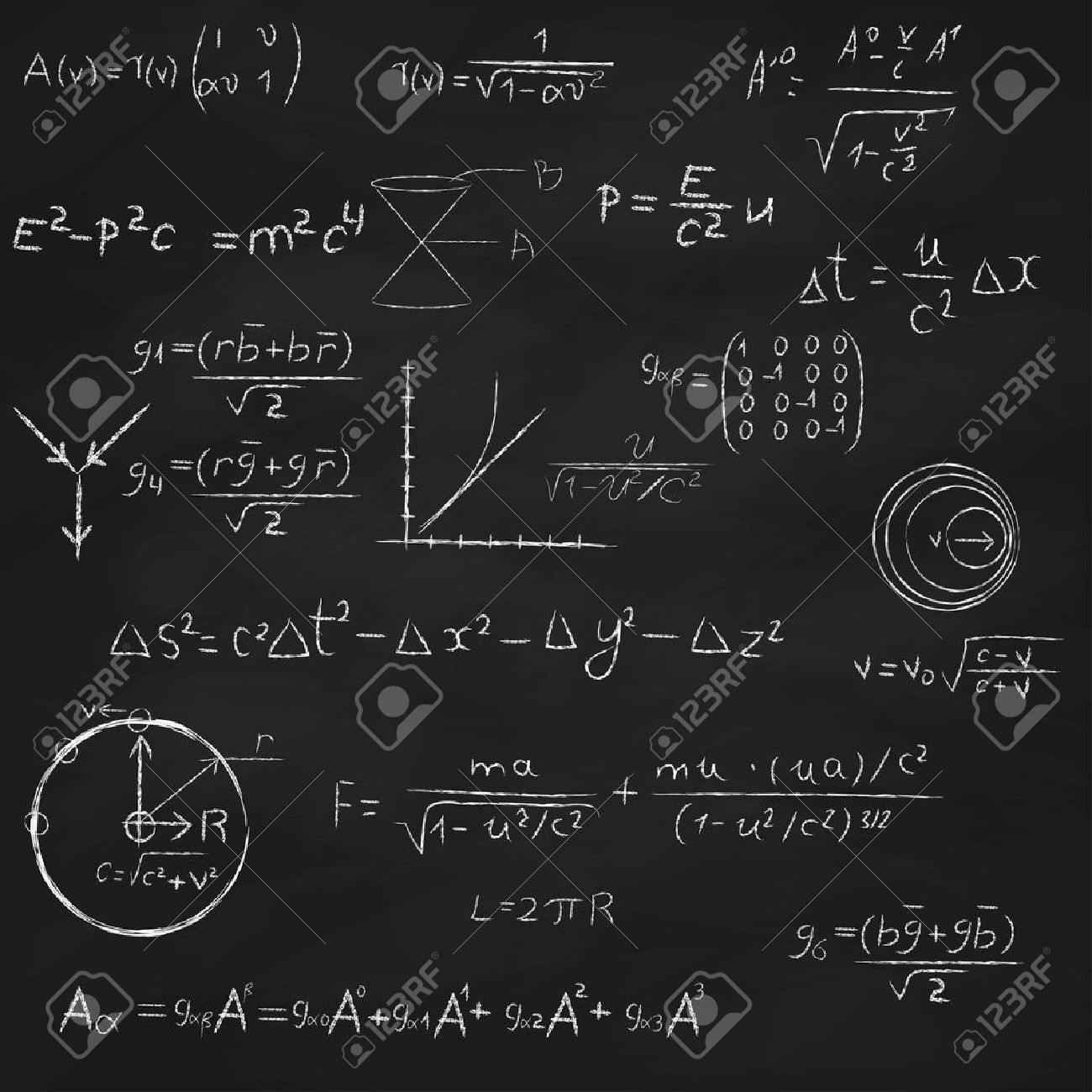 Background with blackboard, with relativity and string theory equations, formulas and hand drawings - 26075917