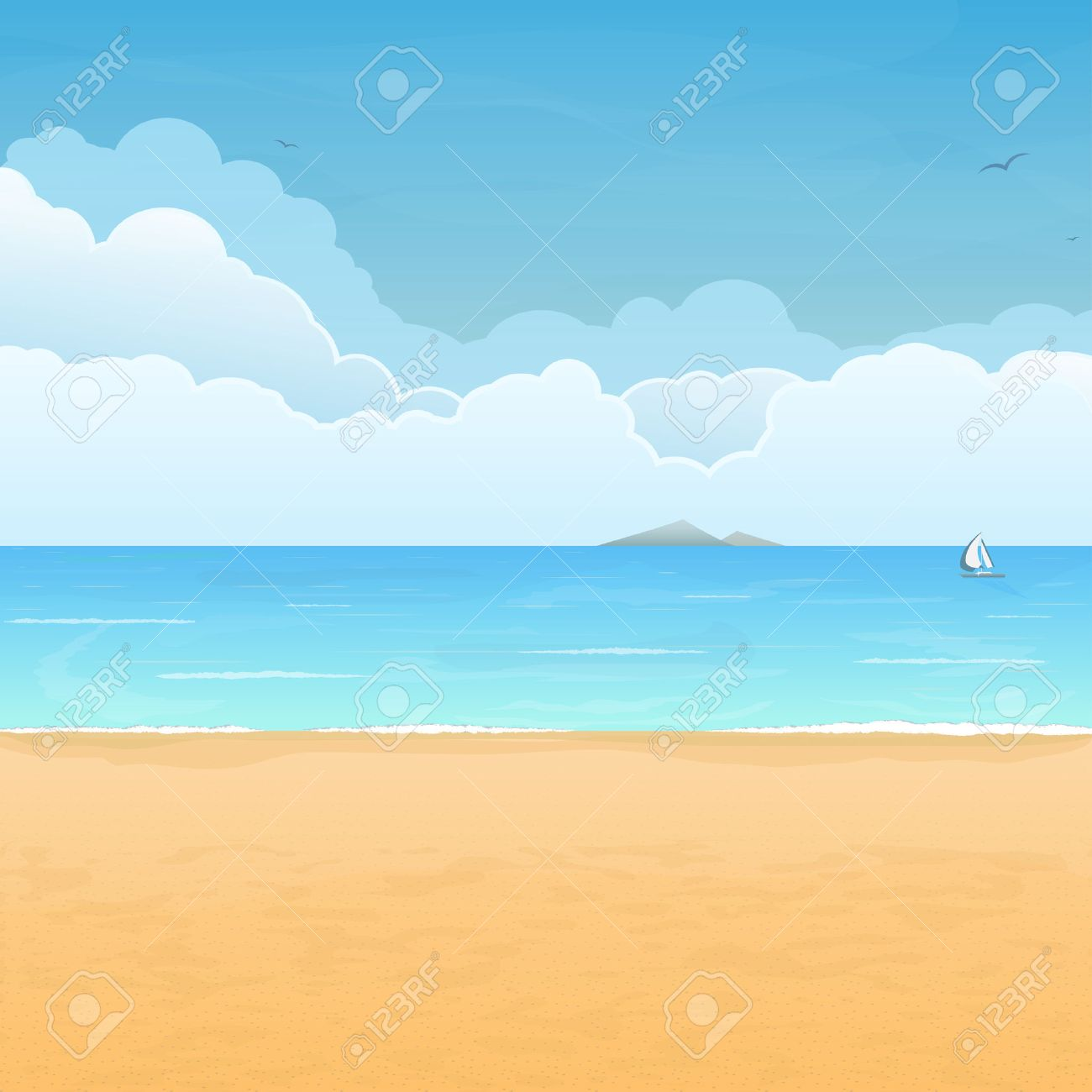 Tropical Sand Beach Boat In Sea Mountain Island On Horizon And Clouds Background