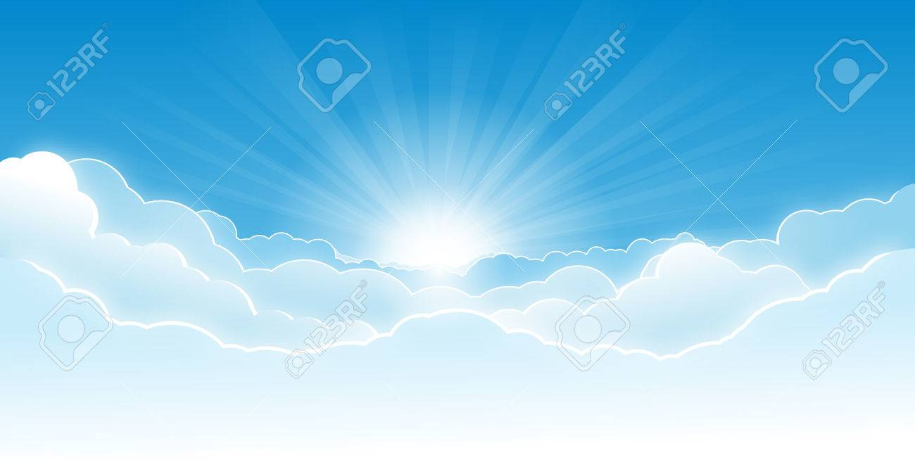 Morning sky with glowing clouds and rising sun with rays. - 30561418