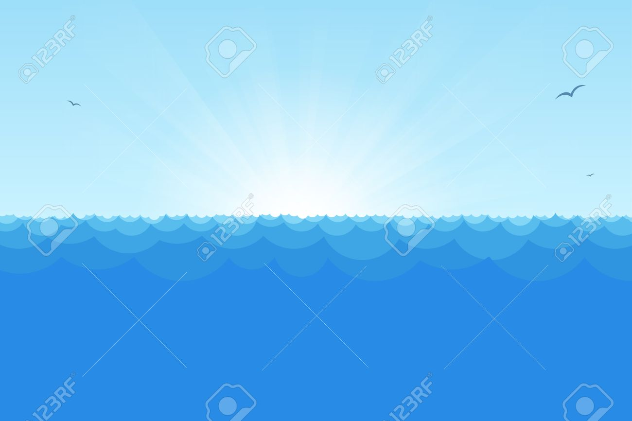 Blue horizon ocean view with rising sun, simple waves and seagulls. - 30553829