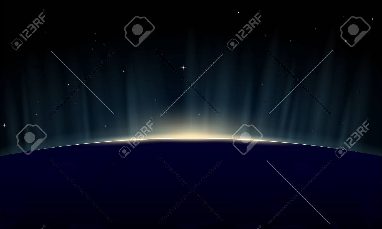 Horizontal poster of rising sun on Earth. View from space, with aurora glowing on horizon. - 30558226