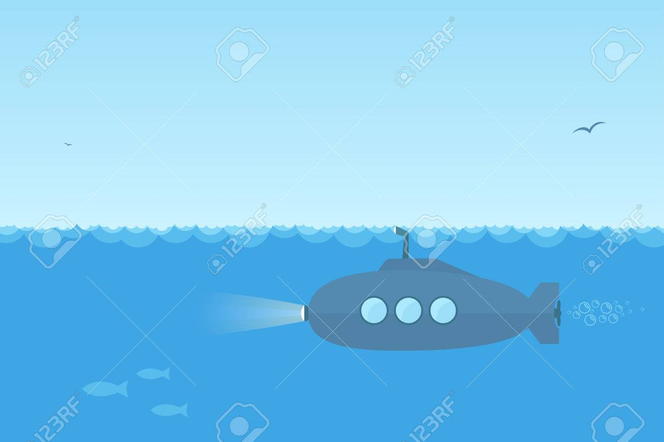 Flat, simple blue submarine swimming under the ocean with periscope. - 31131012